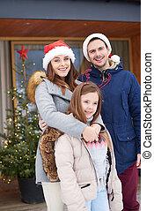 portrait, hiver, vacances famille