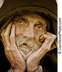 portrait-homeless, songeur, homme