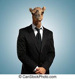 portrait, homme affaires, tête, chameau