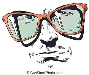 portrait, homme, illustration., glasses., stockage