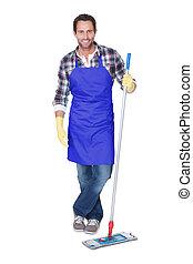 portrait, homme, nettoyage, plancher