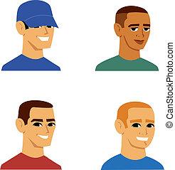 portrait, hommes, avatar, dessin animé