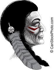 portrait, indien, guerrier