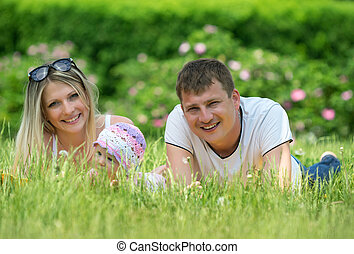 portrait, jardin, famille, heureux