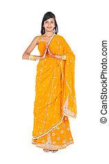 portrait, longueur, femme, indien, entiers