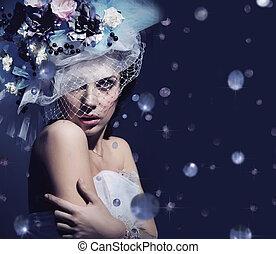 portrait, mignon, dame, diamants