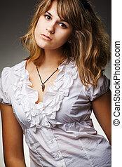 portrait, modèle, mode, gris, fond