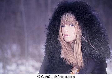 portrait, mode, hiver