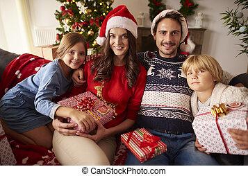 portrait, noël, famille, aimer