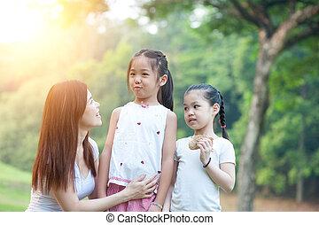 portrait, park., dehors, filles, mère