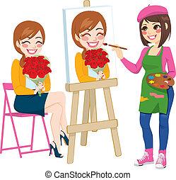 portrait, peinture, artiste