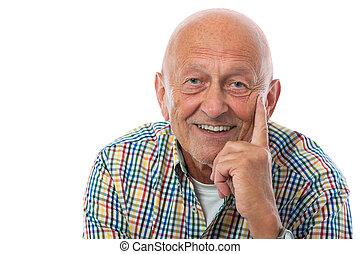 portrait, personne agee, heureux, homme