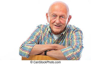 portrait, personne agee, sourire heureux, homme