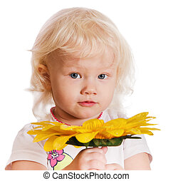 portrait, petite fille, fond blanc