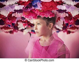 portrait, peu, fleurs, girl