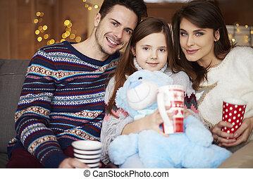 portrait, quoique, hiver, vacances famille