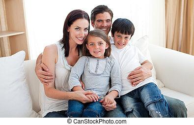 portrait, sofa, sourire, famille, séance