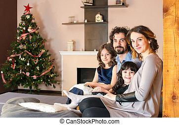 portrait, sourire, noël, temps famille
