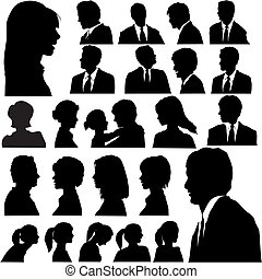 portraits, gens, silhouette, simple