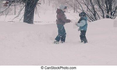 portraits, parc, deux enfants, snow., boys., jouer