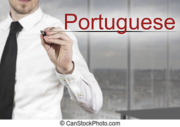portugais, ecriture homme affaires, air