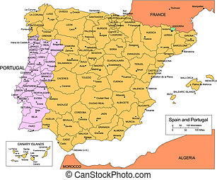 portugal, districts, administratif, espagne, entourer, pays