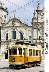 portugal, porto, tram, carmo), devant, carmo, église, douro, (igreja, province