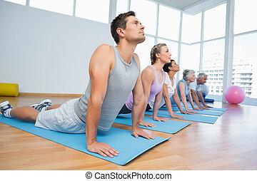pose, cobra, yoga, rang, groupe, classe