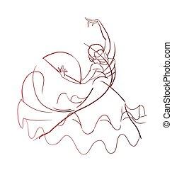 pose, danseur, flamenco, expressif, dessin, geste
