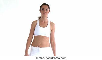 pose, femme, hispanique, yoga