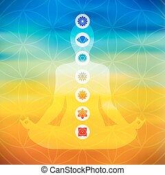 pose, icônes, chakra, yoga