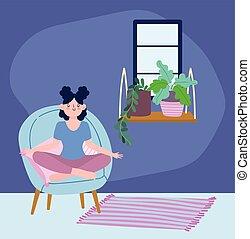 pose, méditation, maison, séjour, chaise, isolement, yoga, coronavirus, soi, activités, quarantaine, girl