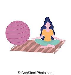 pose, quarantaine, girl, isolement, coronavirus, activités, maison, yoga, séjour, méditation, soi