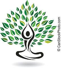 pose yoga, arbre, vecteur, facile, logo