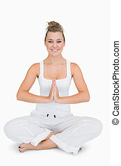 pose, yoga, girl, jambes croisées, séance