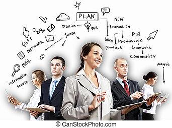 poser, businesspeople, équipe