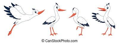 poses., dessin animé, ensemble, illustration, cigognes, différent, vecteur, fond, blanc