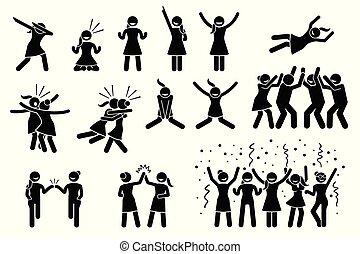 poses, femme, gestures., girl, femme, ou, célébration