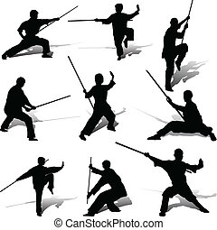 poses, sien, kung-fu, personnel
