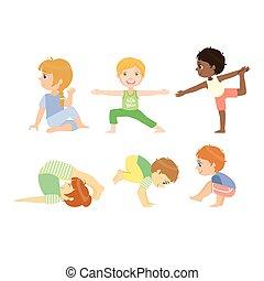 poses, yoga, avancé, gosses
