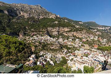 positano, italie, campanie, haut, maisons, panorama, escalade, colline
