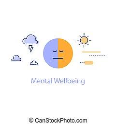 positif, bipolaire, pensée, ou, trouble mental, santé, négatif, concept