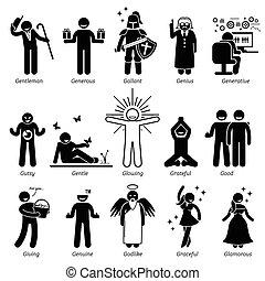 positif, caractère, traits