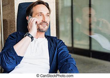positif, cellphone, homme affaires, communiquer