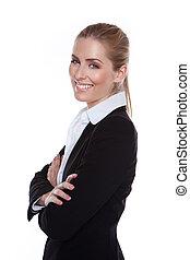 positif, charmant, sourire, femme affaires