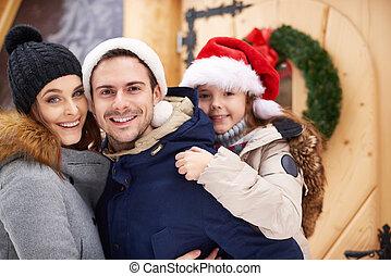 positif, scène, famille, aimer