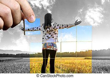 positif, vie, perspective