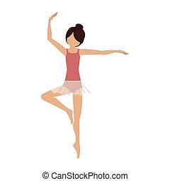 position, danseur, coloré, pirouette, troisième