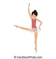 position, danseur, coloré, quatrième, développé