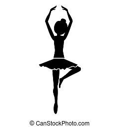 position, danseur, silhouette, cinquième, pirouette